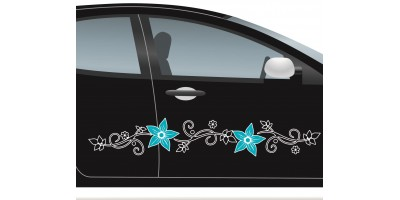 Virágos autó matrica, fekete szárral