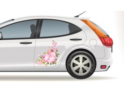 Fotó hatású rózsa virágos sarok autómatrica