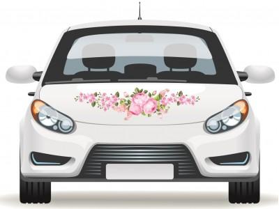 Fotó hatású rózsás autó matrica