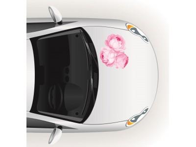 Fotó hatású három rózsás autómatrica