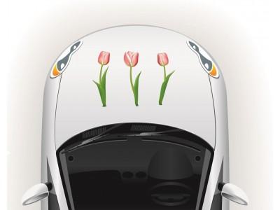 Tulipános csajos autó matrica