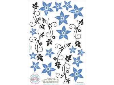Kék virágos bicikli matrica