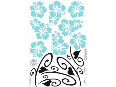 Türkizkék Hawaii virágos bicikli matrica