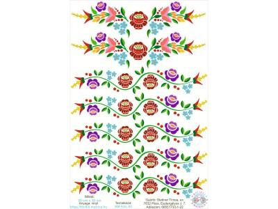 Kalocsai virágos kerékpár matrica