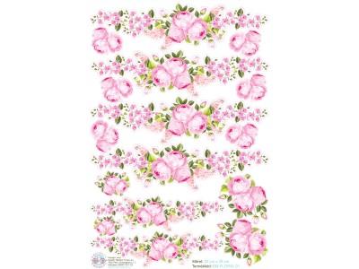 Rózsaszín rózsa virágos bicikli matrica