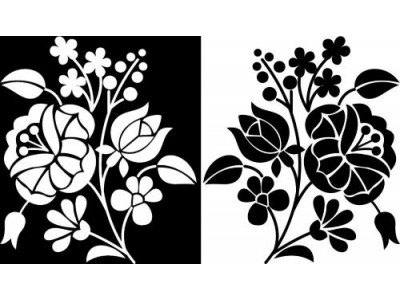Kalocsai bútormatrica, fekete-fehér