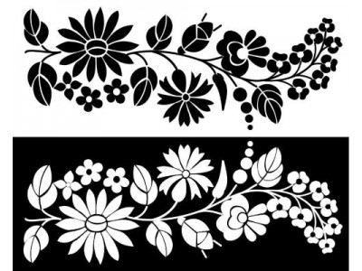 Kalocsai bútormatrica, fekete v. fehér