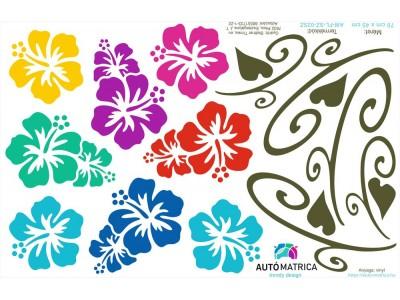 Hawaii virágos autómatrica csomag - 2 színben
